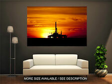 Wall Art Canvas Print Picture Industry Oil Drilling Rig in Sunset Time-Unframed