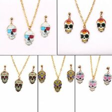Fashion Halloween Jewelry Colorful Printing Skull Pendant Necklace Earrings Gift