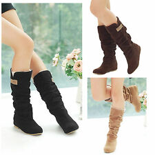 Autumn/Winter Stylish Women Flat Heel Lace Cuff Mid-Calf Faux Suede Shoes Boots
