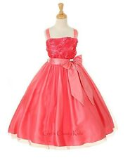 New Coral Flower Girls Dress Easter Christmas Party Pageant Fancy Holiday 6006KK