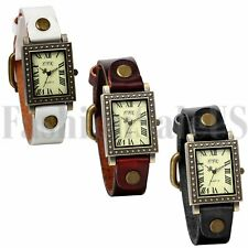 Women's Ladies Retro Square Roman Numberals Dial Leather Band Quartz Wrist Watch