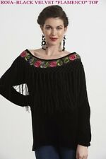 "ROJA Fall'17~Black Velvet~'FLAMENCO TOP""~With Piano Shawl Fringe~FREE SHIP!"