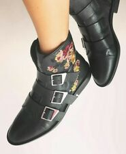 ZARA NEW FLAT LEATHER ANKLE BOOTS WITH EMBROIDERY AND BUCKLE BLACK SIZE UK 2-9