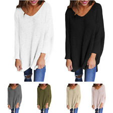 UK Women Loose Knitted Pullover Jumper Sweater V Neck Long Sleeve Knitwear Top