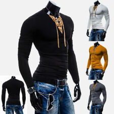 Mens New Slim Fit V-Neck Muscle Long Sleeve Tee Tops Sexy lace-up T-shirt H1064