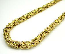 """Mens Womens SOLID 10K Gold Byzantine Necklace Chain 3MM - 18"""" - 24"""" Inches"""