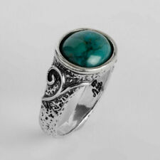 New SHABLOOL Fine Ring Solitaire Turquoise 925 Sterling Silver Jewelry