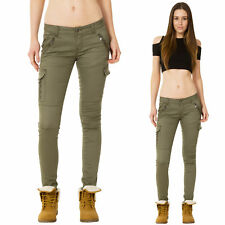 New Womens Low Rise Green Slim Skinny Stretch Combat Pants Cargo Trousers Jeans