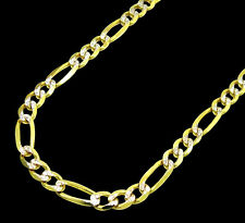 10K Mens Womens Yellow Gold Figaro Style Diamond Cut Necklace Chain 4.5MM