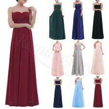 Long Strapless Chiffon Bridesmaid Evening Dress Formal Party Ball Prom Gown 6-18