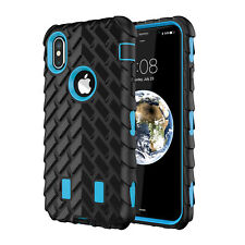 Shockproof Hybrid Gel Armor Rubber Tire Pattern Case Cover For Apple iPhone X 10