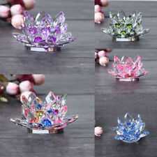 New Hindu Buddhist Lotus Crystal Glass Candle Tea Light Holder Candlestick