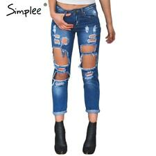 Hole Ripped Jeans Women Pants Cool Denim Vintage Straight Jeans For Girl Mid