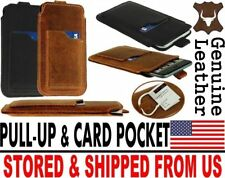 # SLIM PULL-UP & POCKET CARD GENUINE LEATHER CASE COVER SLEEVE POUCH FOR IPHONE