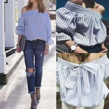 Women Back Bow Tie T-Shirt Off Shoulder Casual Striped Puff  Sleeve Blouses Tops
