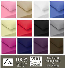 Luxury 100% Egyptian Cotton Fitted Sheets  200TC Single Double King