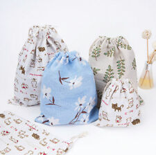 Cute Cotton Drawstring Back Pack Sack Gym Tote Bag School Sport Shoe Pouch US