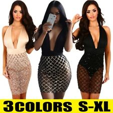 Sexy Women Plunge V-Neck Bandage Bodycon Sequin Short Mini Dress Party Clubwear