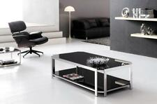 Milla Polished Stainless Steel Coffee Table With Tempered Glass.