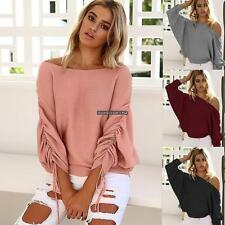 Women Off Shoulder Elastic Ruched Batwing Long Sleeve Solid Knitted DKVP