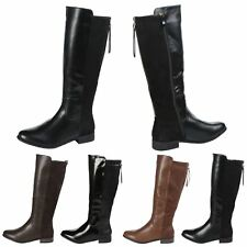 Faye Womens Flats Low Heels Zip Up Two Tone Ladies Knee High Riding Boots Size