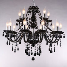 Antique Led black Chandelier light fixture for dining room glass pendant lamp