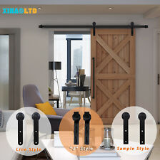 4-16FT Sliding Barn Wood Door Hardware Closet Track Kit Rustic For Single/Double