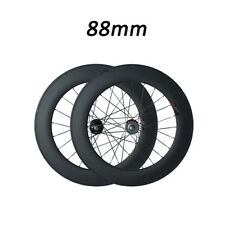 Track fixed gear Single Speed 88mm Depth Clincher Road Bike Racing Carbon Wheels
