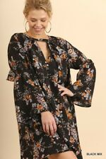 Umgee Floral print long Sleeve ruffle full Swing Dress boho Tunic Top S M L