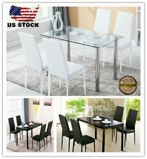 5x Glass Metal Dining Table Set +4 White / Black Chairs Kitchen Room Furniture J