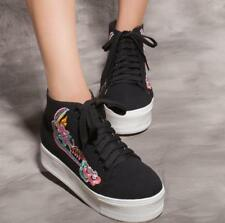 Women embroidery Flat High-Top Lace Up Platform Sneakers Canvas Trainers Skaters
