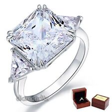 925 Sterling Silver Bridal Engagement Ring 8 Ct Princess Cut Lab Created Diamond