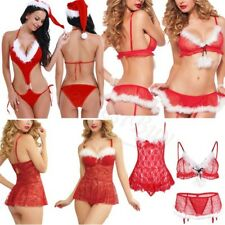 Women Christmas Underwear Sexy Lingerie Red Babydoll Dress Sleepwear Clothes