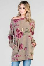 Bellamie floral long sleeve boat neck sweater tunic top Plus S M L XL 1X 2X 3X