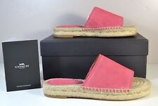 NIB COACH CLAUDIA PEONY SUEDE SLIDES SLIP ON FLATS SANDALS SHOES 6.5 34A01972