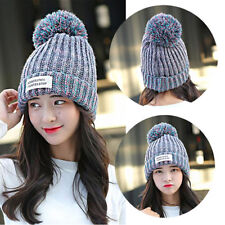 New Fashion Winter Warm Women Hot Knit Ski Beanie Ball Wool Cuff Hat Ski Cap