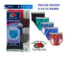 Fruit of the Loom Boys' 100% Cotton Print &/or Solid Fashion Briefs Value Packs