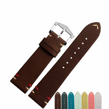 20 22mm VINTAGE Suede Real Cowhide Leather Wristt Watch Band Strap Belt Buckle