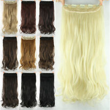 """New Women Girls Clip in on Hair extensions Synthetic Curly Long 23"""" 60cm Stylish"""