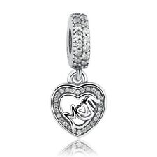 Mum Mom Charm Heart Dangle Pendant CZ GENUINE 925 Sterling Silver NEW UK + GIFT