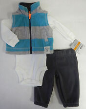 Carters Newborn 3-Piece Fleece Striped Vest Bodysuit Pant Set Baby Boy Clothing
