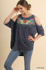 UMGEE Slate Blue Floral Embroidered Open-Shoulder Velvet Top