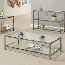 Modern Coffee Table Glass Top With Shelf Contemporary Furniture For Living Room