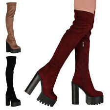 WOMENS OVER THE KNEE LADIES CLEATED SOLE CHUNKY HEEL PLATFORM BOOTS SIZE 3-8