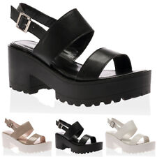 WOMENS STRAPPY LADIES SMART PLATFORM CHUNKY BLOCK HEEL SANDALS SHOES SIZE 3-8