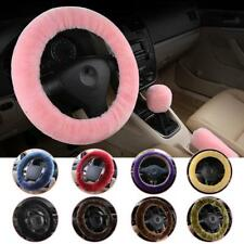 3 Pcs Set Soft Steering Wheel Cover Fuzzy Wool Plush Car Winter Warmer Pink Red
