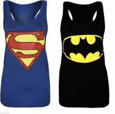 Womens Ladies Plus Size Sleeveless Superman Batman T Tee Shirt Vest Top 8 to 26
