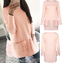 Womens Hoodies Dress Long Sleeve Jumper Hooded Pullover Sweatshirt Plain Tops