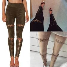 Punk Women Front Lace Up Faux Suede Stretch High Waist Legging Skinny Pants E0Y3