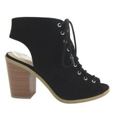 ShoeDx New Women's Open Toe Backless Lace Up Chunky High Heel Ankle Bootie